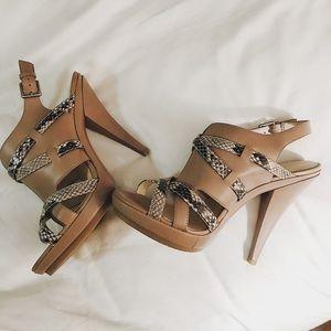 Women's Calvin Klein Leather and Snakeskin Heels